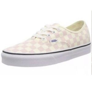 Vans checkerboard pink cream lace up canvas shoe